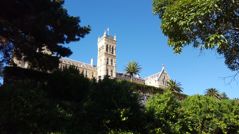 Looking back at the seminary from the gardens